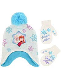 Girls' Toddler Frozen Elsa and Anna Hat and Mittens Cold...