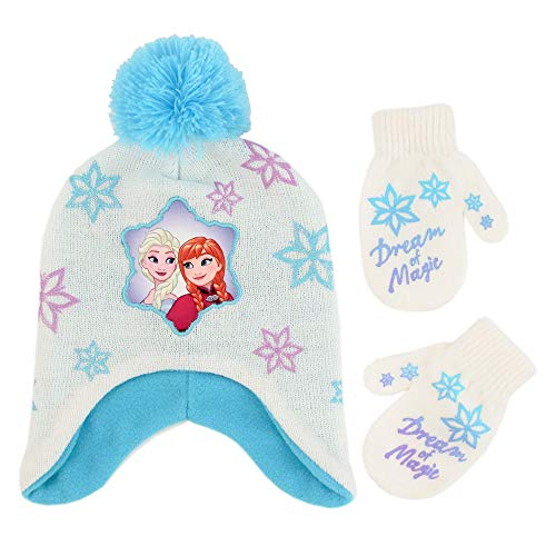 Disney Girls' Toddler' Frozen Elsa and Anna Hat and Mittens Cold Weather Set, white/blue, Age 2-4