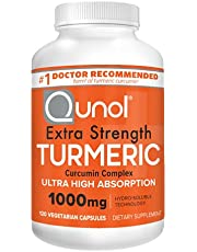 Turmeric Curcumin Capsules, Qunol with Ultra High Absorption 1000mg, Alternative to Turmeric Curcumin with Black Pepper, Joint Support, Dietary Supplement, Extra Strength, 120 Vegetarian Capsules