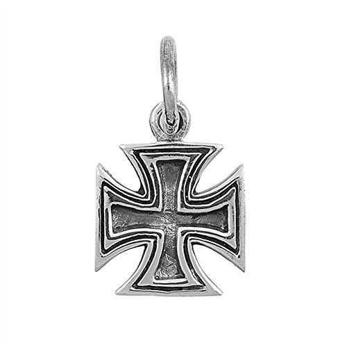 Iron Cross Charm - Maltese Iron Cross Pendant .925 Sterling Silver Knight's St. John's Pattee Charm