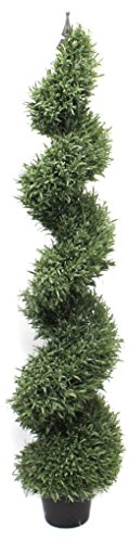 (Rosemary Spiral Artificial Topiary Tree Rustic Metal Finial Pre Potted (5 Foot))
