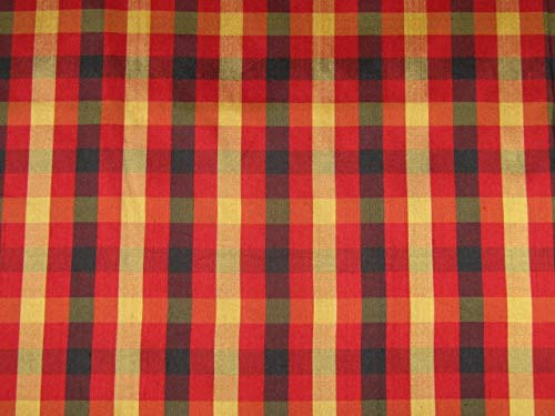 Puresilks Silk Dupioni Fabric Plaids red/Black /Gold 54'' Width Dup#95[1] ()