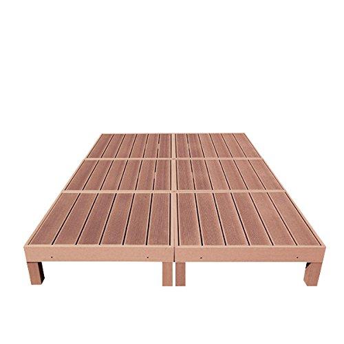 人工木ウッドデッキ 縁台 6点セット 1.5坪 連結用ネジ付 樹脂 デッキ 縁台【2色選択可】 (ブラウン) B018I4DF4W  ブラウン