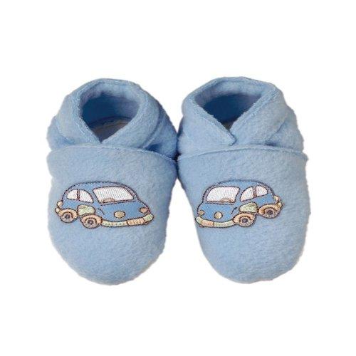 Polaire bleu pantoufles et T-shirt assorti (6-12 mois)
