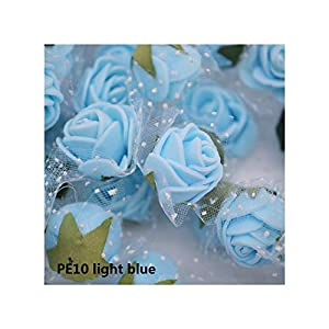 Luccaful 50/100 pcs 2cm Mini PE Foam Flower Fake Artificial Rose for DIY Handmade Wedding Party Decor Scrapbooking Crafts Gift Box 8Z,PE10 Light Blue,100pcs 46