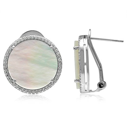 (15MM Round Disc Shape White Mother Of Pearl 925 Sterling Silver Omega Clip Post Earrings)