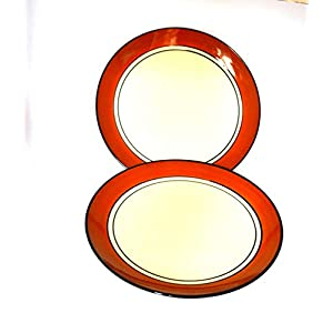 Renhomz Premium Ceramic Hand Painted Dinner Plates , Classic Brown | Size 10 inch | Available Set of 2 Plates | 100…