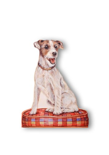 Russell Abstract Print - Stupell Home Décor Jack Russell Terrier Decorative Dog Door Stop, 18 x 0.5 x 14, Proudly Made in USA