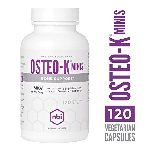 NBI Osteo-K Minis, Bone Support | Builds Stronger Bones, Encourage Fracture Reduction, Dietary Supplement | 45mg Vitamin K, 120 Vegetarian Capsules Per Bottle