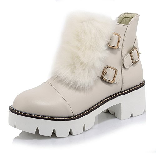1TO9 Womens Chunky Heels Buckle Platform Imitated Leather Boots Beige BfB2Ovin5s