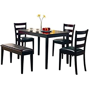 Coaster 5pc Dining Table Chairs u0026 Bench Set Cappuccino Finish  sc 1 st  Amazon.com & Amazon.com: Coaster 5pc Dining Table Chairs u0026 Bench Set Cappuccino ...