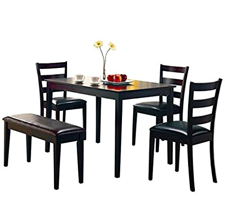 Coaster 5pc Dining Table, Chairs U0026 Bench Set Cappuccino Finish