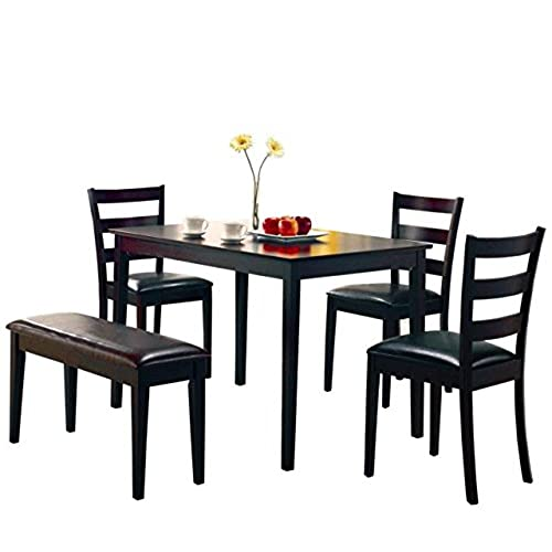 Coaster 5pc Dining Table Chairs \u0026 Bench Set Cappuccino Finish  sc 1 st  Amazon.com : dining table bench set - pezcame.com