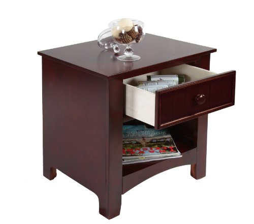 - Furniture of America Max 1-Drawer Nightstand, Cherry