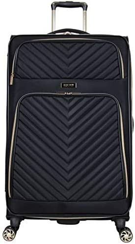 "Kenneth Cole Reaction Women's Chelsea 28"" Chevron Quilted Softside Expandable 8-Wheel Spinner Checked Suitcase, Black, Inch"