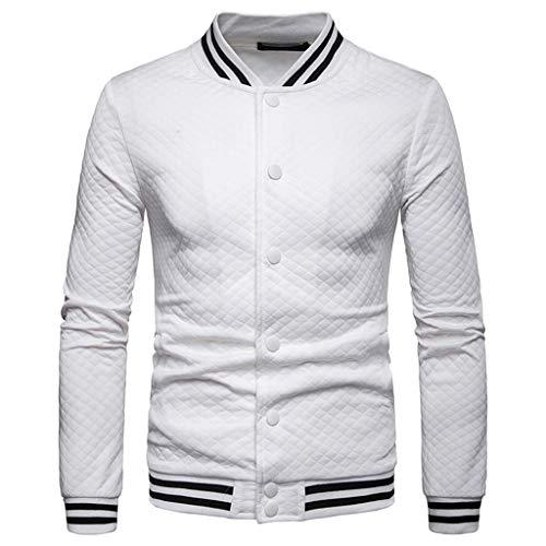 Sunhusing Men's Plaid Button-Down Stripe Print Long Sleeve Sweatshirt Top Splicing Blouse Coat White
