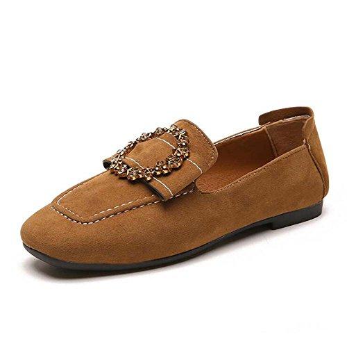 Zapatos de mujer solos zapatos de primavera femenina Nueva coreana zapatos planos de diamantes de imitación de cabeza plana zapatos perezosos de moda Brown
