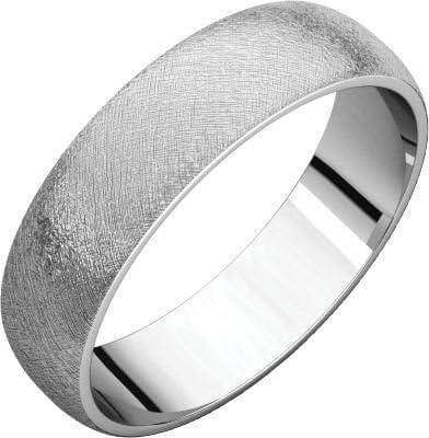 Size 12.5 Bonyak Jewelry 10k White Gold 5 mm Half Round Lightweight Band