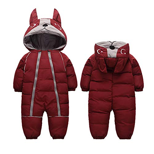 Fairy Baby Infant Boy Girl Winter Thick Romper Outwear Warm Hood Snowsuit Jumpsuit Size 2T (WineRed)