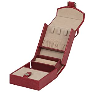 Wolf Designs 281204 Heritage Red Travel Mini Foldout Jewelry-Box
