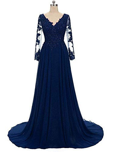 Lady Dress Women's V Neck Lace Mother of Bride Dresses Long with Sleeve Appliques Sequined Prom Dress Evening Gowns CLZ136 Navy Blue -