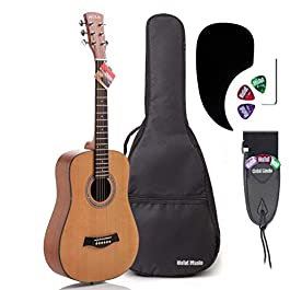 3/4 Size (36 Inch) Acoustic Guitar Bundle Junior/Travel Series by Hola! Music with D'Addario EXP16 Steel Strings, Padded…