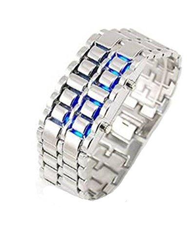 Samgu-Watch Uhr Edelstahl LED Armbanduhr Herren Unisex Samurai Silbrig Armband