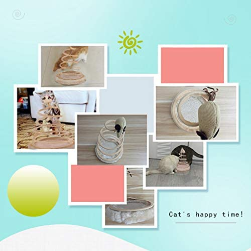 Andiker Interactive Cat Toy, Cat Plush Toy with Spiral Spring Plate and Funny Ball or Mouse Interactive Stainless Steel Spring Rotating Cat Creative Toy to Kill time and Keep Fit 8
