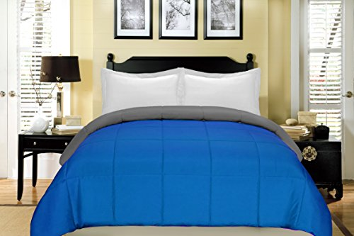 South Bay Reversible Down Alternative Comforter, King, Cobalt Blue/Gray