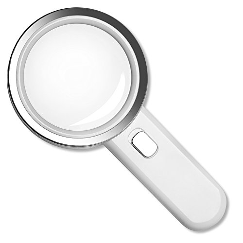 Fancii LED Magnifying Glass with Light, 5X High Power Glass Lens - Large 3.5 Inches Distortion-Free Illuminated Magnifier ()