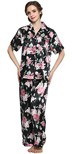 Sunrise Women's Short Sleeve Classtic Satin Pajama Set (X-Large, Black Floral Print) ()