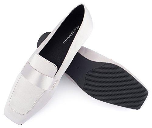Mio Marino Dames Flats Penny Loafers - Vierkante Neus Platte Jurk Schoenen Voor Dames - In Geschenkverpakking Licht Grijs
