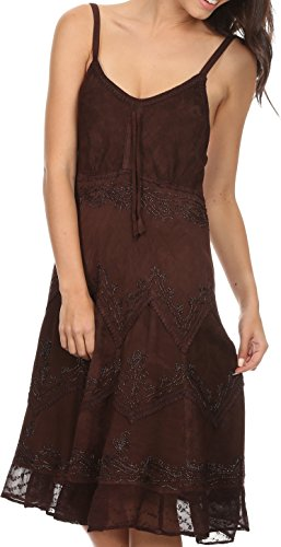 Sakkas 4031 Stonewashed Rayon Adjustable Spaghetti Straps Mid Length Dress - Chocolate - 1X/2X