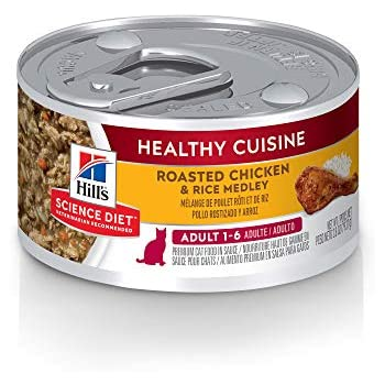 Hills Science Diet Wet Cat Food, Adult, Healthy Cuisine, Roasted Chicken & Rice Medley, 2.8 oz, 24-pack