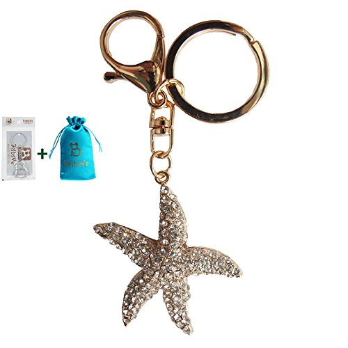 Bolbove Clear Starfish Sparkling Charm Blingbling Keychain Crystal Rhinestone Pendant