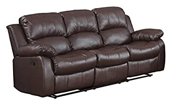 Divano Roma Furniture Bonded Leather Double Recliner Sofa Living Room Reclining Couch Brown