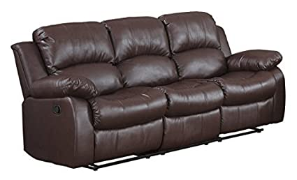 Amazon.com: DIVANO ROMA FURNITURE Bonded Leather Double Recliner ...