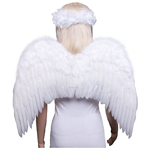 [FashionWings (TM) Teens Adults Classic White Costume Feather Angel Wings & Halo] (Costumes Of Angel)