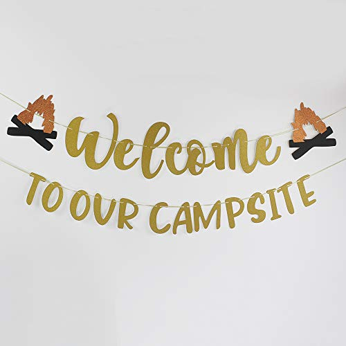 Welcome to Our Campsite Banner Sign Home Garden House Flag Happy Retirement Decor Camper Yard Flags for Outdoor Camping Party Decorations]()