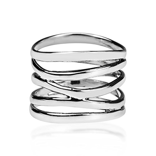 AeraVida Wide Five Band Coil Wrap .925 Sterling Silver Ring (10) ()