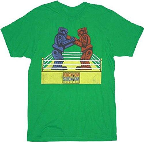 Rock 'Em Sock 'Em Robots Sheldon Adult GREEN T-Shirt Tee (Adult Large) (Robots Online Sockem Em Rock)