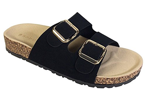 Bamboo Footbed Sandal Black Pu Double and Buckle Strap Women's Nubuck 1qBxX1rwv
