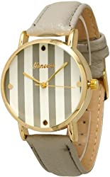 Women's Geneva Striped Leather Watch - Silver