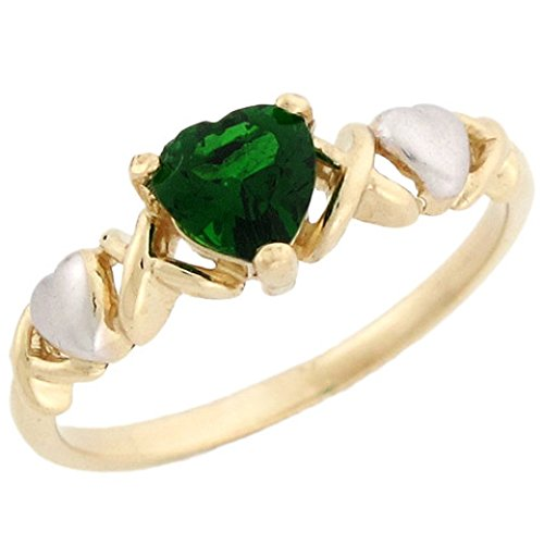 Jewelry Liquidation 10k Two-Tone Gold Heart Shaped Simulated Emerald May Birthstone Ring