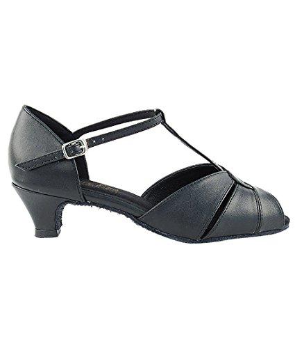Mycket Fin Balsal Latin Tango Salsa Dansskor För Kvinnor 6006 Till 1,3 Tums Klack + Vikbar Pensel Bunt Svart Läder