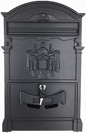 Relaxdays Antique Letterbox Green 44.5 x 31 x 9.5 cm with Roof for DIN A4 Letters English-Style Wall-Mount Mailbox Cast Aluminum
