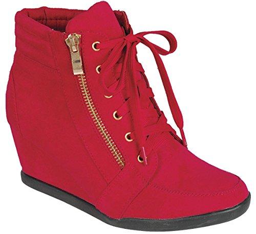 Cambridge Selezionare Womens Lace-up Zipper Zeppa Moda Sneaker Rosso