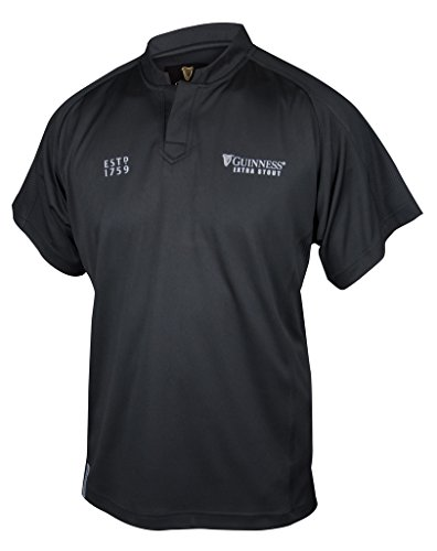 GUINNESS Black Embossed Print Rugby Jersey,Black,XX-Large (Beer Rugby Guinness)