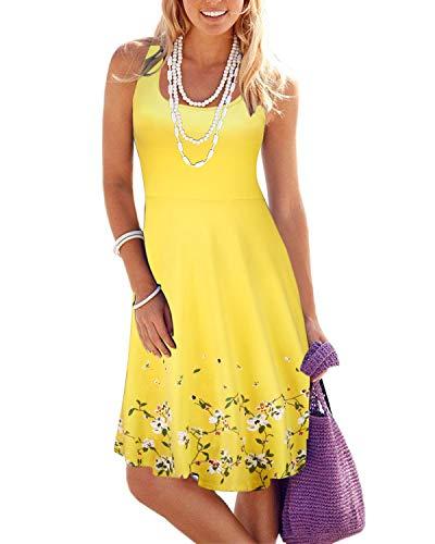 VOTEPRETTY Women's Sleeveless Summer Beach Casual Flared Tank Dress(Yellow,M)