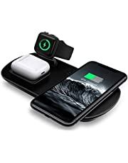 ADDSMILE Soporte de Carga inalámbrica, Cargador inalámbrico compatible con iPhone 12/11/X/8/8P/XR/XS, Base de Carga inalámbrica 3-en-1 compatible con iWatch 6/SE/5/4/ 3/AirPods/Pro, diseñado para dispositivos compatibles con tecnología Qi Galaxy S8/S8+/buds/S9/S10/S20/note10
